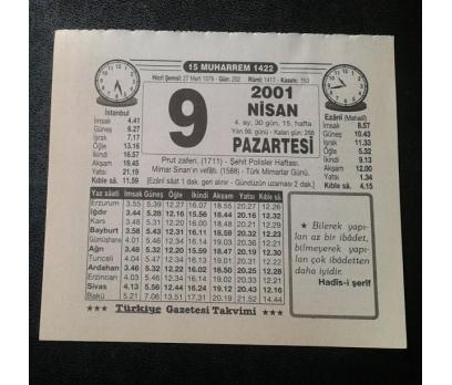 9 NİSAN 2001 PAZARTESİ TAKVİM YAPRAĞI