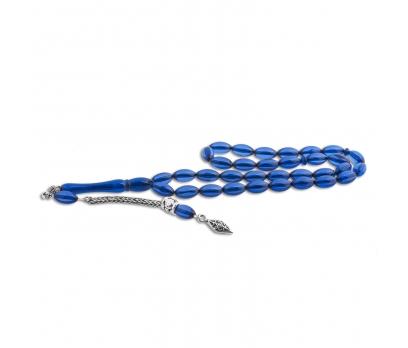 Gümüş Püskül Mavi Toz Kehribar Tesbih 1