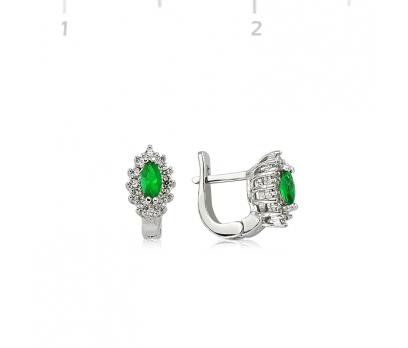 Gümüş Yeşil Mekik Bayan Küpe
