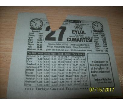 27 Eylül 1997 Cumartesi -  Takvim Yaprağı