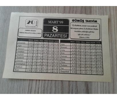 8 MART 1999 PAZARTESİ TAKVİM YAPRAĞI