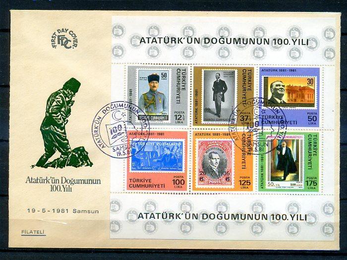 CUMH.FDC 1981 ATATÜRK'ÜN 100.D.Y.FİLATELİ (18-21) 1
