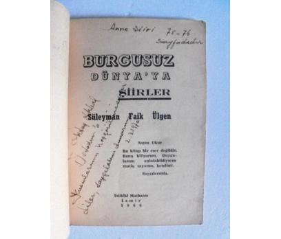 BURGUSUZ DÜNYA'YA ŞİİRLER Süleyman Faik Ülgen İMZA 2