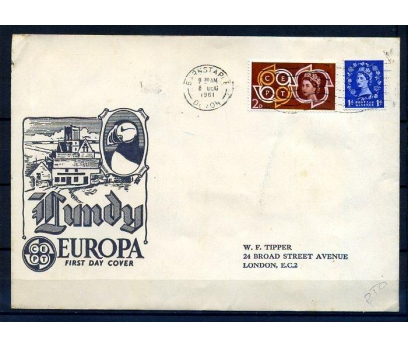İNGİLTERE 1961 İLAVE LUNDY PULLARLA PG ZARF(18-5 )