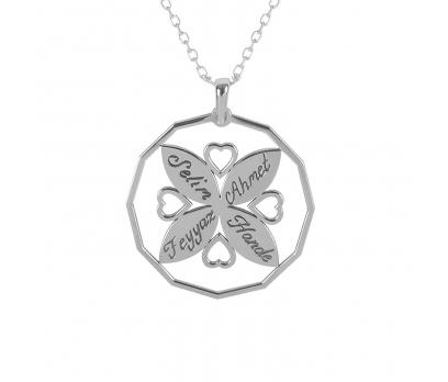 Glorria Kişiye Özel 4 İsimli Kalp Gümüş Kolye GLR654