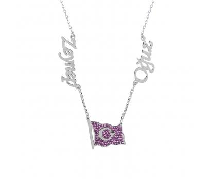 Glorria Kişiye Özel İsimli Ay Yıldız Gümüş Kolye GLR746