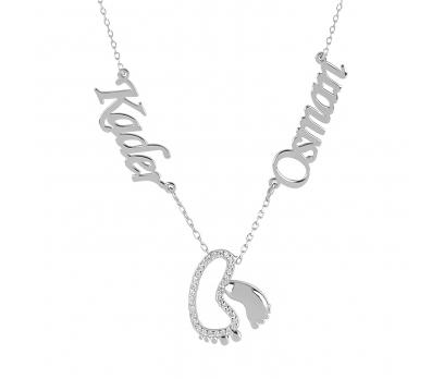 Glorria Kişiye Özel  İsimli Bebek Ayak İzi Gümüş Kolye GLR761