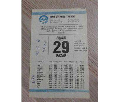 29 ARALIK 1991 PAZAR TAKVİM YAPRAĞI
