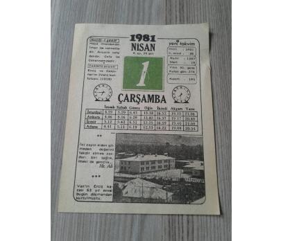 1 Nisan 1981 Çarşamba-Takvim Yaprağı