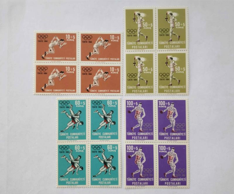 1964 TOKYO OLİMPİYATLAR DÖRTLÜ BLOK TAM SERİ (MNH) 1