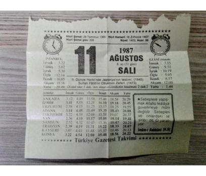 11 Ağustos 1987 Salı-Takvim Yaprağı