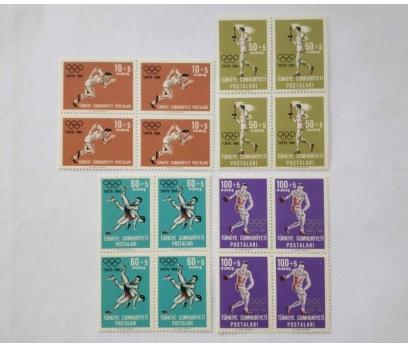 1964 TOKYO OLİMPİYATLAR DÖRTLÜ BLOK TAM SERİ (MNH)