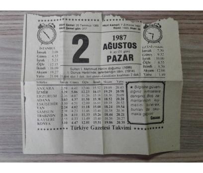 2 Ağustos 1987 Pazar- Takvim Yaprağı
