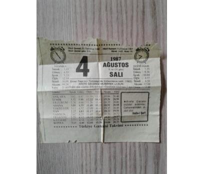 4 Ağustos 1987 Salı- Takvim Yaprağı