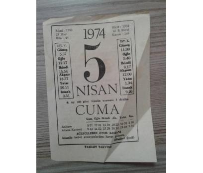 5 Nisan 1974 Cuma- Takvim Yaprağı