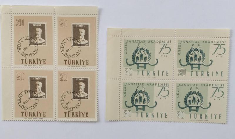 1957 GÜZEL SANATLAR 75. YILI DÖRTLÜ BLOK (MNH) 1