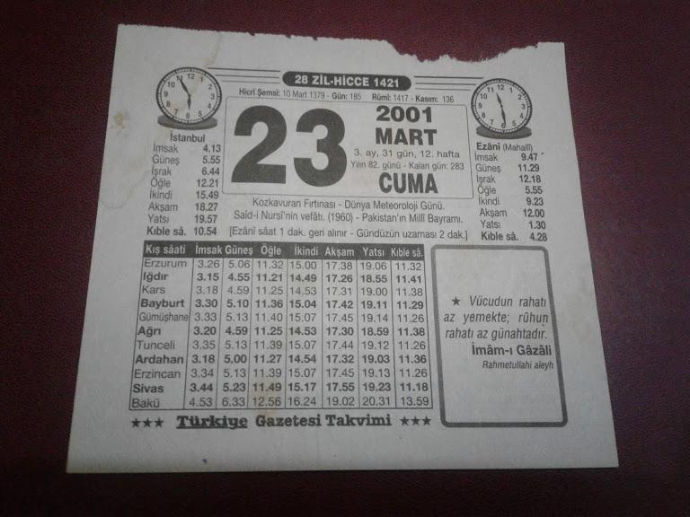 23 Mart 2001 Cuma Takvim Yaprağı 1