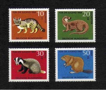 1968 Almanya Hayvanlar Damgasız**