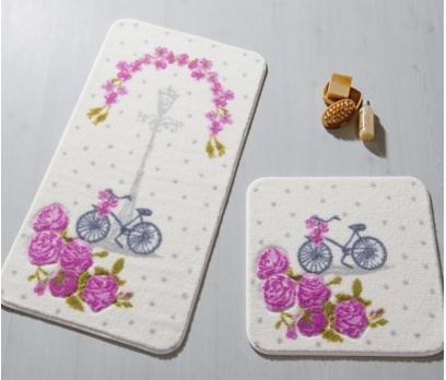 2li Vintage Bisiklet Oymalı Banyo Halısı Takımı