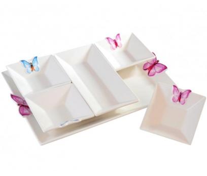 Kelebekli ve Tepsili Porselen Kahvaltı Seti 6 Prc