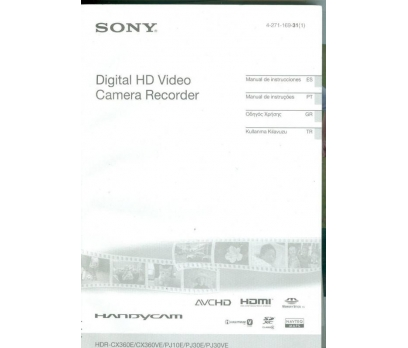 SONY CX360E/CX360VE/PJ10E/PJ30E/PJ30VE DIGITAL HD