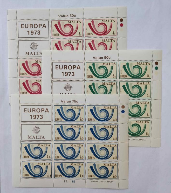 1973 MALTA  EUROPA-CEPT KLEINBOGEN TAM SERİ  (MNH) 1