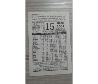 15 OCAK 2001 PAZARTESİ TAKVİM YAPRAĞI