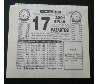 17 EYLÜL 2001 PAZARTESİ TAKVİM YAPRAĞI