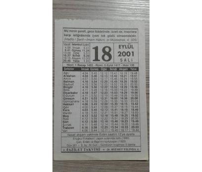 18 EYLÜL 2001 SALI TAKVİM YAPRAĞI