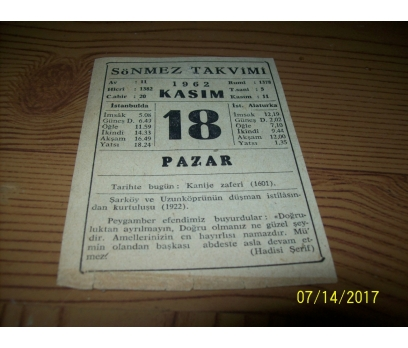 18 Kasım 1962  Pazar  - Takvim Yaprağı