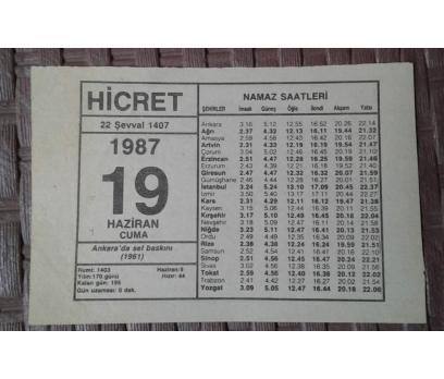 19 Haziran 1987 Cuma  - Takvim Yaprağı