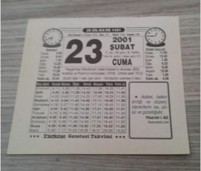 23 ŞUBAT 2001 CUMA TAKVİM YAPRAĞI