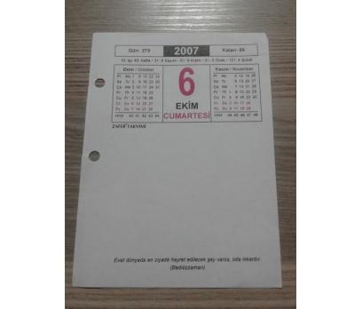 6 Ekim 2007 Takvim Yaprağı Cumartesi