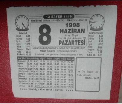 8 HAZİRAN 1998 TAKVİM YAPRAĞI