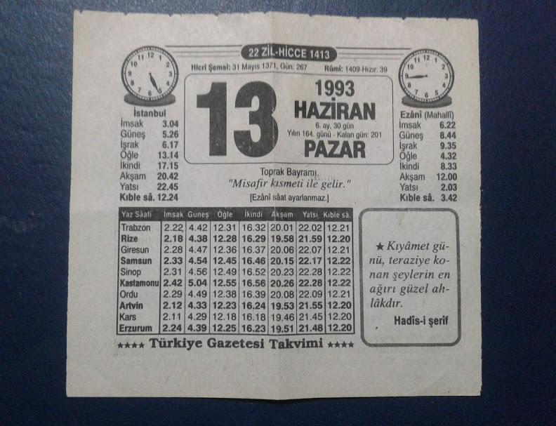 13 HAZİRAN 1993 PAZAR TAKVİM YAPRAĞI 1