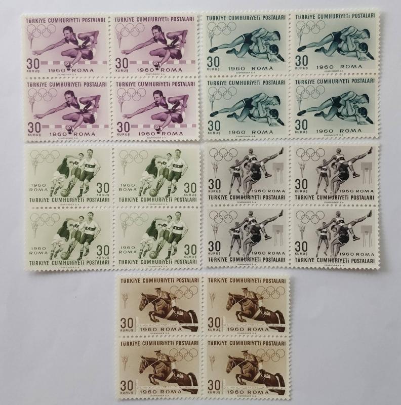 1960 ROMA YAZ OLİMPİYATLARI DBL. TAM SERİ (MNH) 1