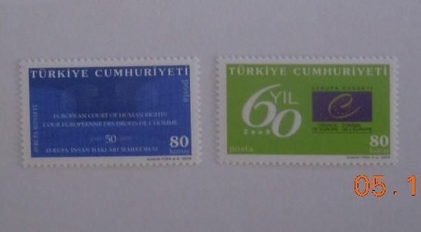 2009 Avrupa Konseyinin 60. yılı tam seri (MNH) 1