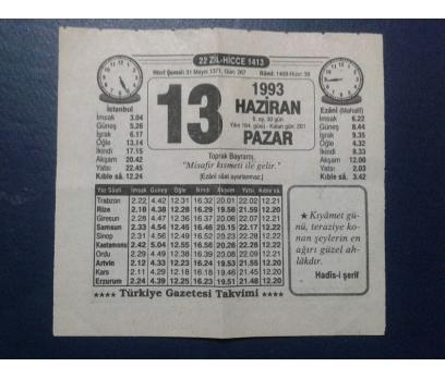 13 HAZİRAN 1993 PAZAR TAKVİM YAPRAĞI