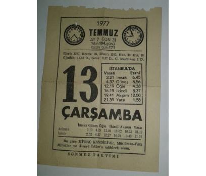 13 TEMMUZ 1977 ÇARŞAMBA - TAKVİM YAPRAĞI