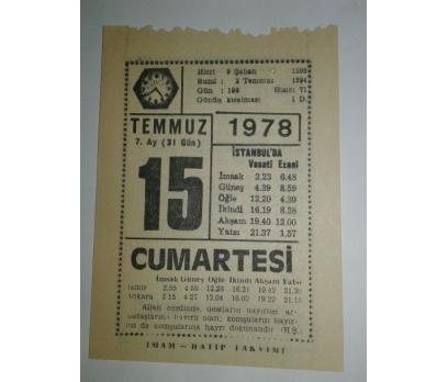 15 TEMMUZ 1978 CUMARTESİ - TAKVİM YAPRAĞI
