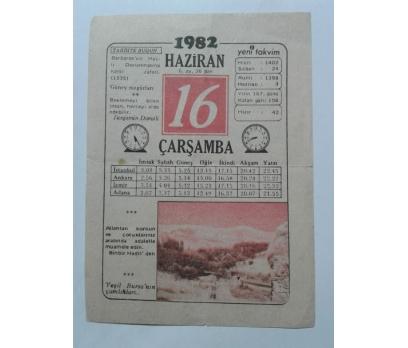 16 HAZİRAN 1982 ÇARŞAMBA - TAKVİM YAPRAĞI 1