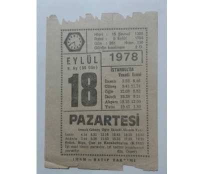 18 EYLÜL 1978 PAZARTESİ - TAKVİM YAPRAĞI