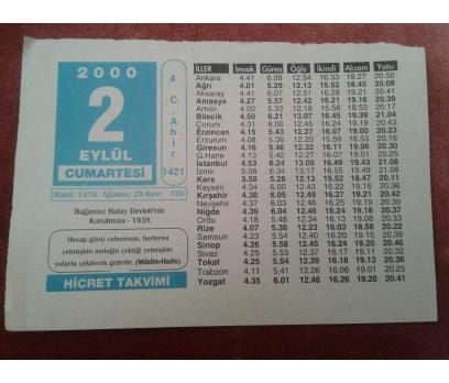 2 EYLÜL 2000 CUMARTESİ TAKVİM YAPRAĞI