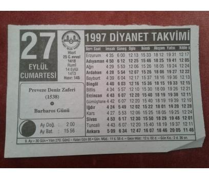 27 EYLÜL 1997 CUMARTESİ TAKVİM YAPRAĞI