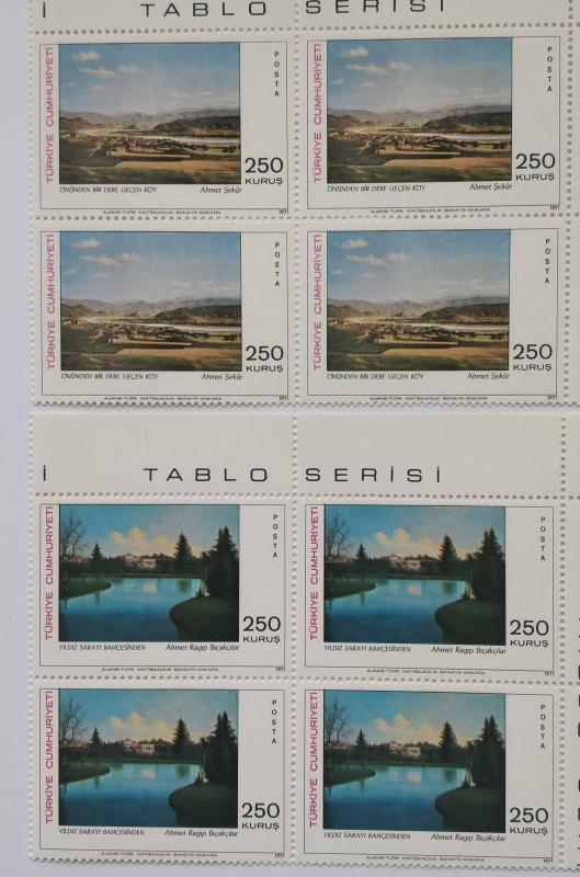 1971 TABLO - 3  DÖRTLÜ BLOK TAM SERİ  (MNH) 1