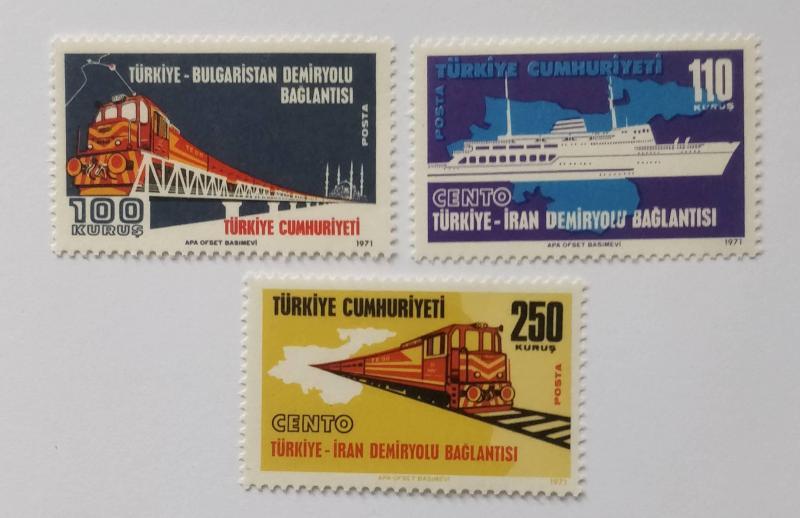 1971 TÜRKİYE-İRAN-BULGAR DEMİRYOLU TAM SERİ  (MNH) 1