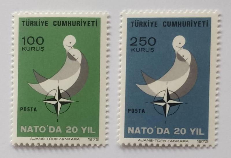 1972 TÜRKİYE NATOYA KATILIŞI 20. Y. TAM SERİ (MNH) 1
