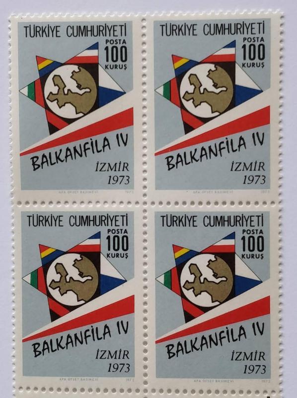 1973 BALKANFİLA IV PUL SERGİSİ DÖRTLÜ BL (MNH) 1