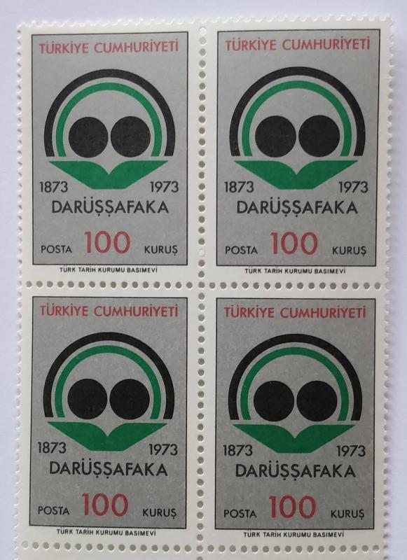 1973 DARÜŞŞAFAKA LİSESİ 100. YILI DÖRTLÜ BL (MNH) 1