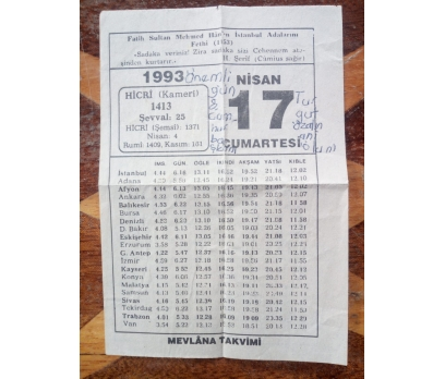 17 Nisan 1993 Cumartesi Takvim Yaprağı